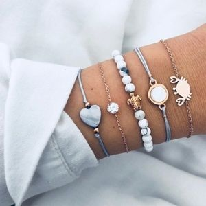 Jewelry - Turtle Crab Heart Stackable Bracelets blue & gold